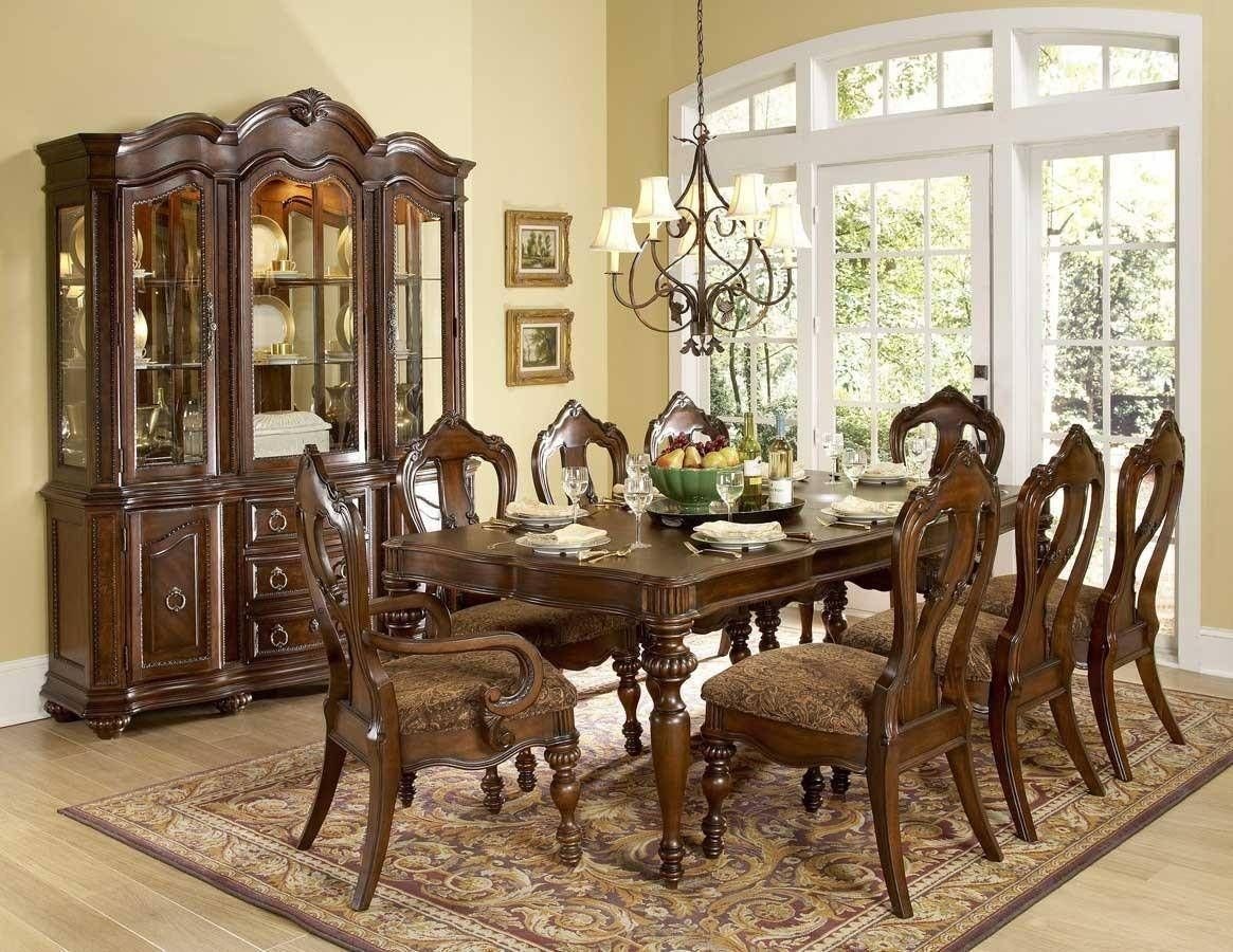1390102 Prenzo 9Pcs European Warm Brown Wood Formal Dining Table Set 1390102Set Buy Online