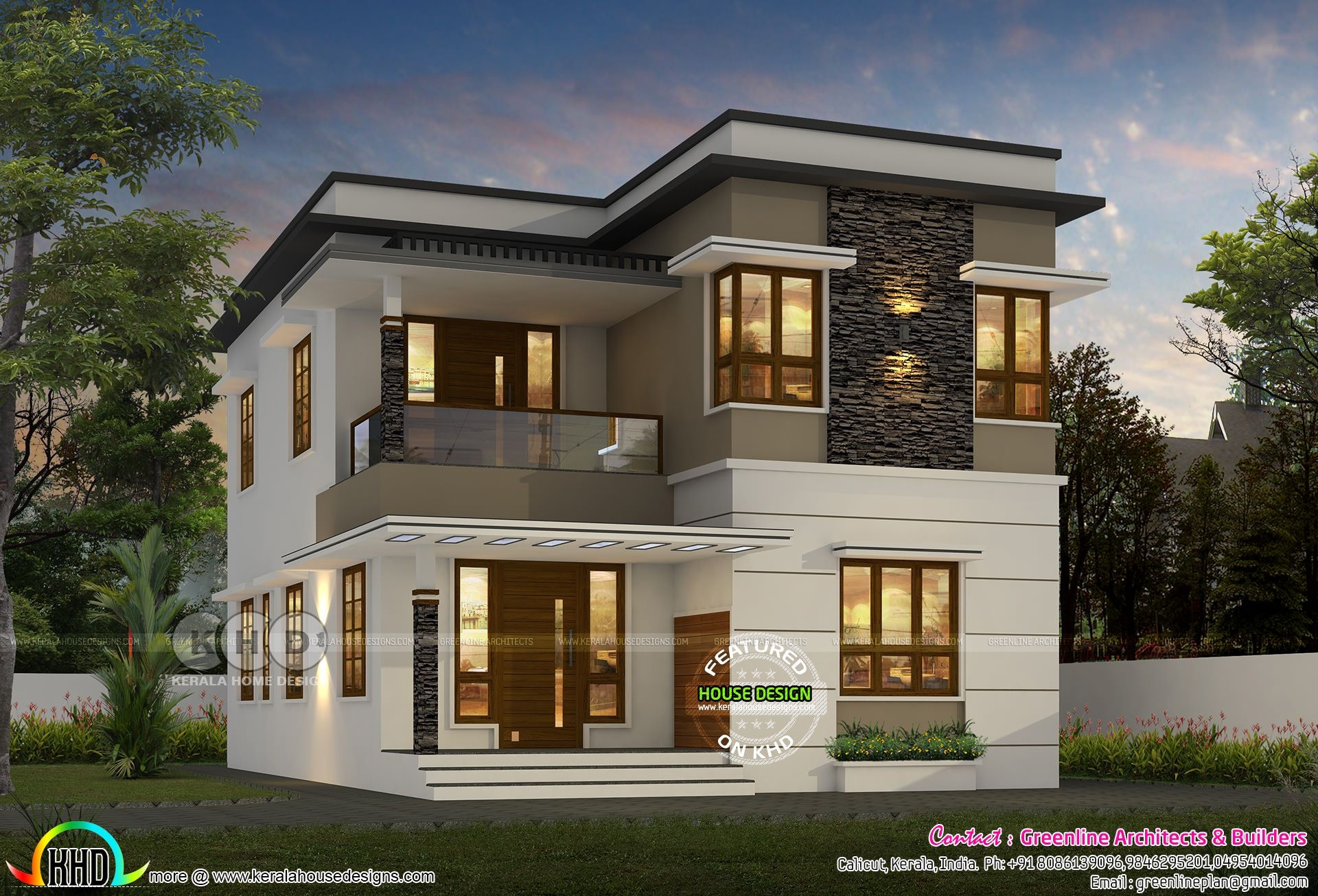 1600 Sqft 4 Bedroom Modern Flat Roof House  Kerala Home Design And Floor Plans