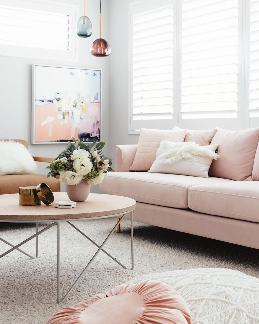 18 Chic Blush Pink Sofas  How To Style Them