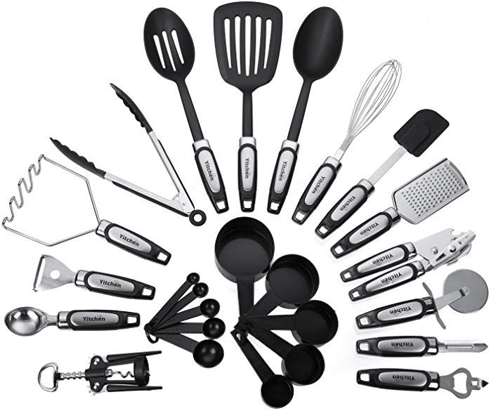 25Piece Kitchen Tool  Utensil Set Cooking Gadgets Stainless Steel  Nylon Yitchen  B01J93Tqyy