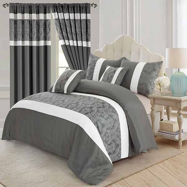 3 Piece Faux Silk Bedding Set With Matching Curtains  Imperial Rooms