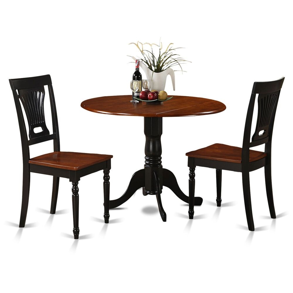 3 Piece Small Kitchen Table And Chairs Setround Table And 2 Dinette Chairs  Ebay