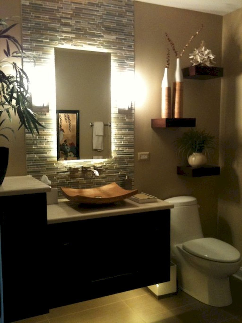 35 Most Efficient Small Powder Room Design Ideas 24  Bathroom Tropical Bathroom Spa Lighting