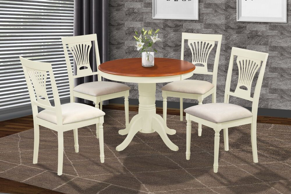 "36"" Round Table Dinette Dining Room Kitchen Set In Buttermilk  Cherry Finish  Ebay"