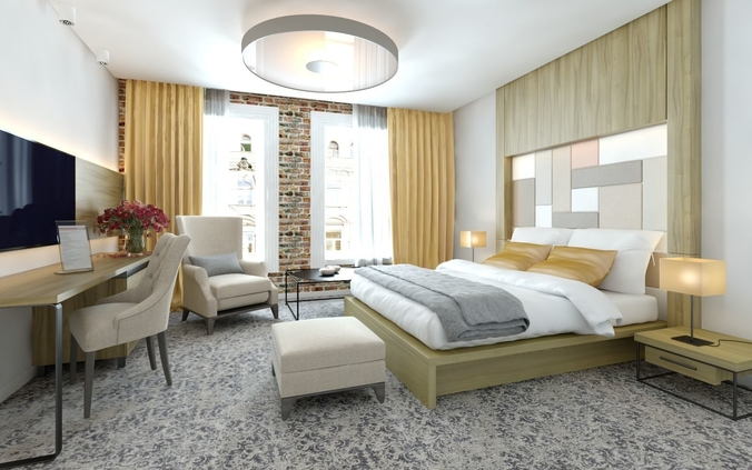 3D Loft Style European Hotel Room Design Idea  Cgtrader