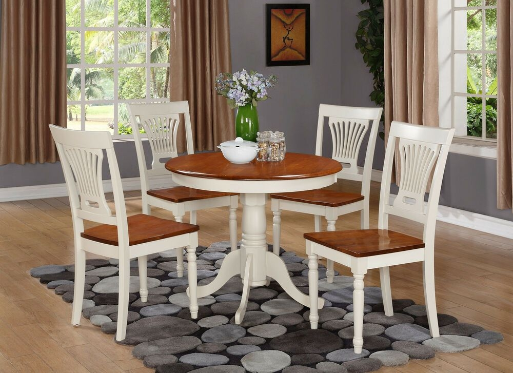 3Pc Dinette Kitchen Table W 2 Plainville Wood Seat Chairs Buttermilk  Cherry  Ebay