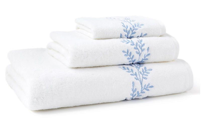 3Pc Willow Towel Set  Blue  Hamburg House  Towel Bath Linens Towel Set