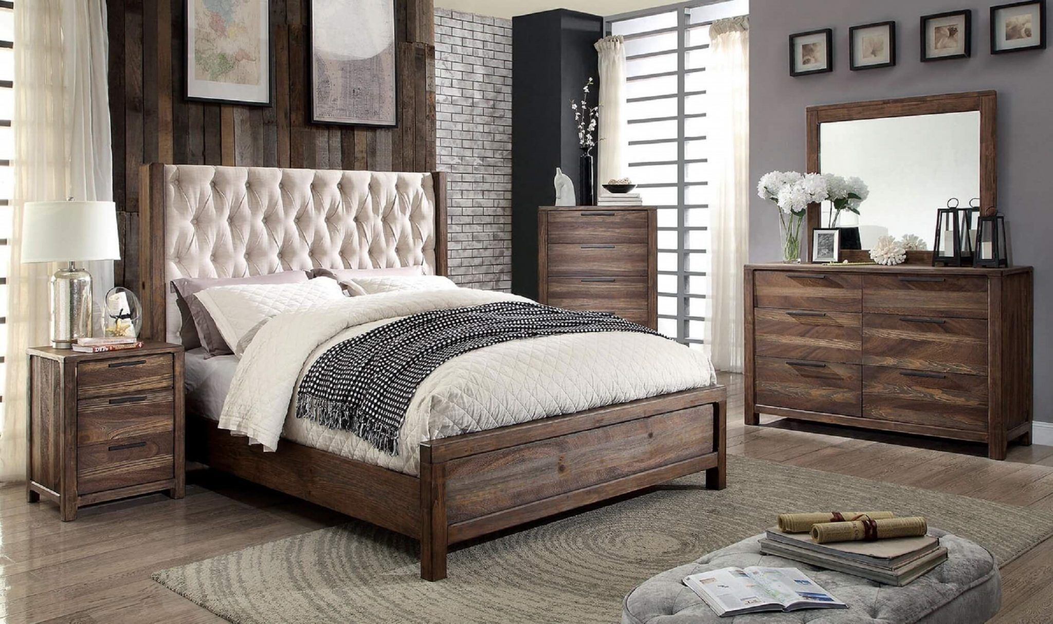 4 Piece Hutchinson Rustic Natural Bedroom Set