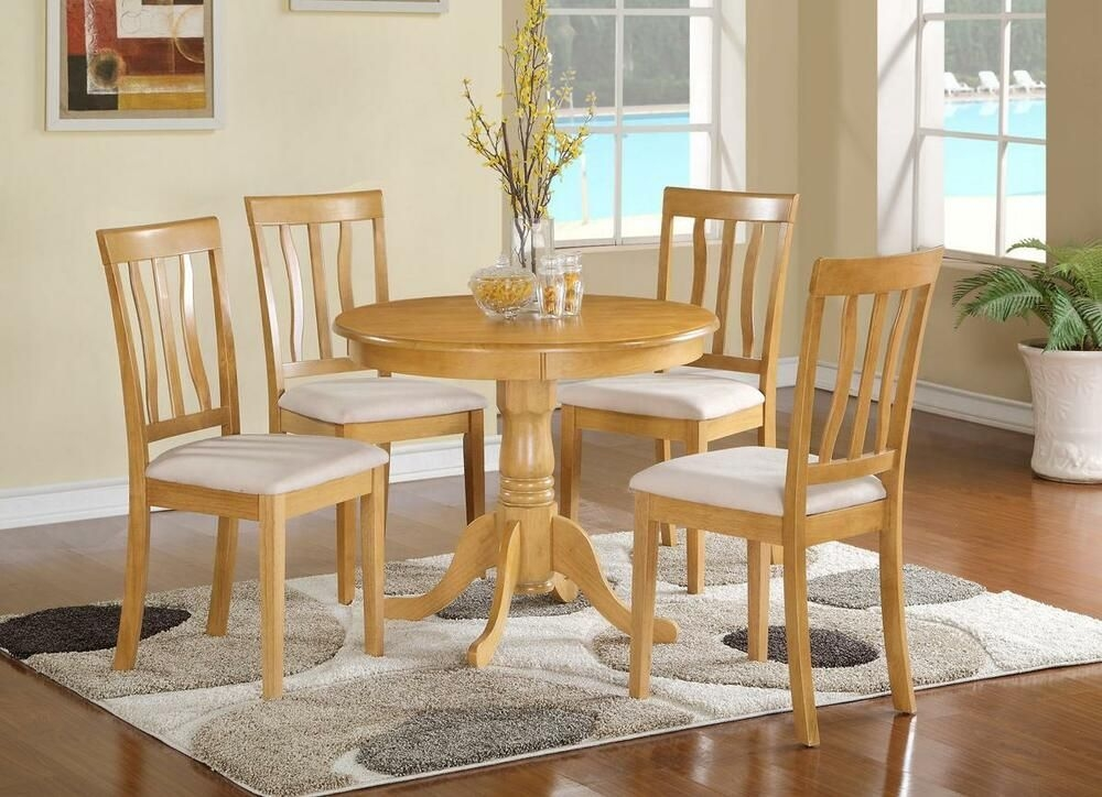5 Pc Dinette Kitchen Dining Table W 4 Microfiber Upholstered Chair In Light Oak  Ebay