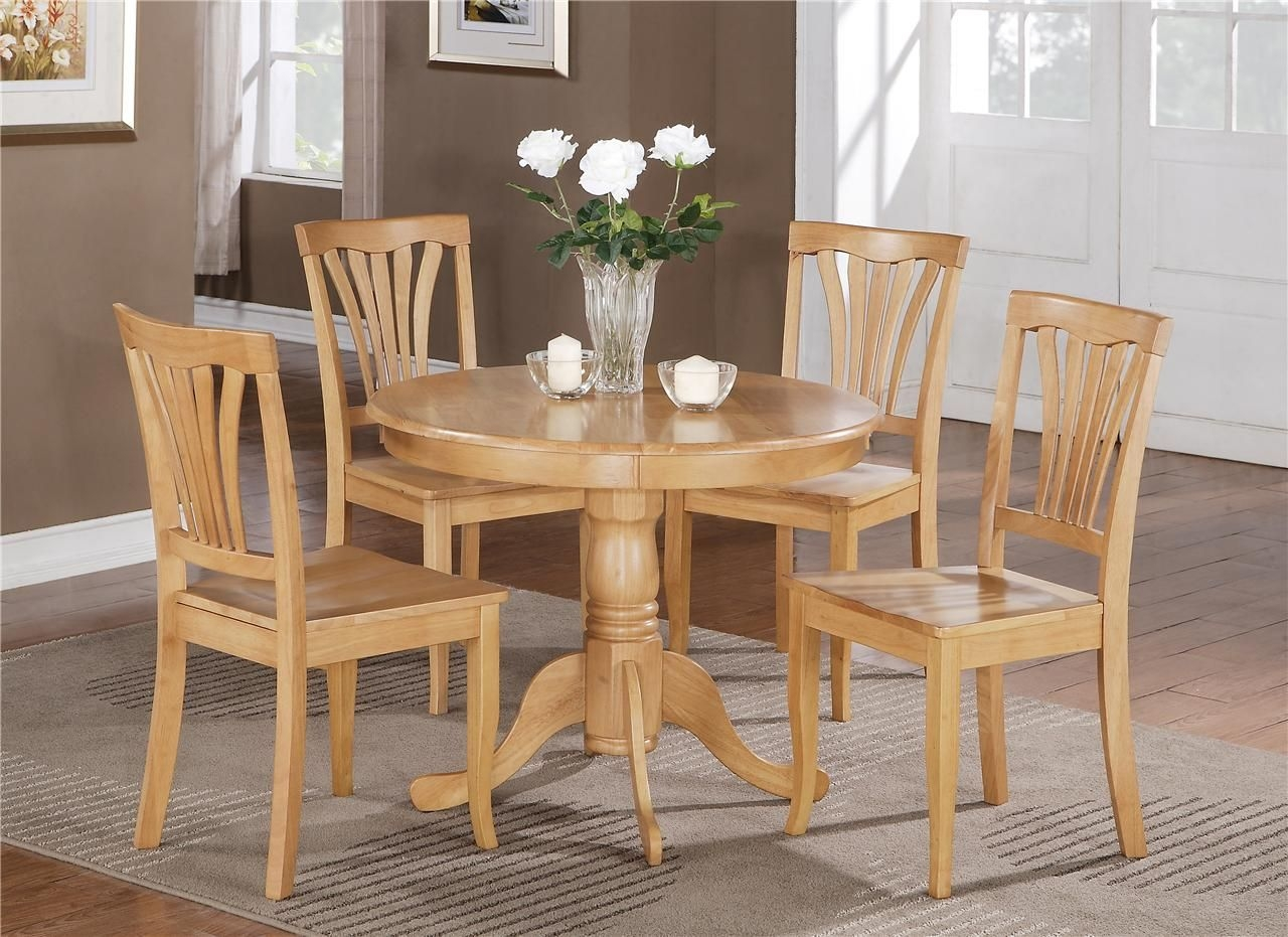 "5 Pc Round Bristol Table Dinette Kitchen Table  4 Chairs In Oak 36"" Diameter  Ebay"