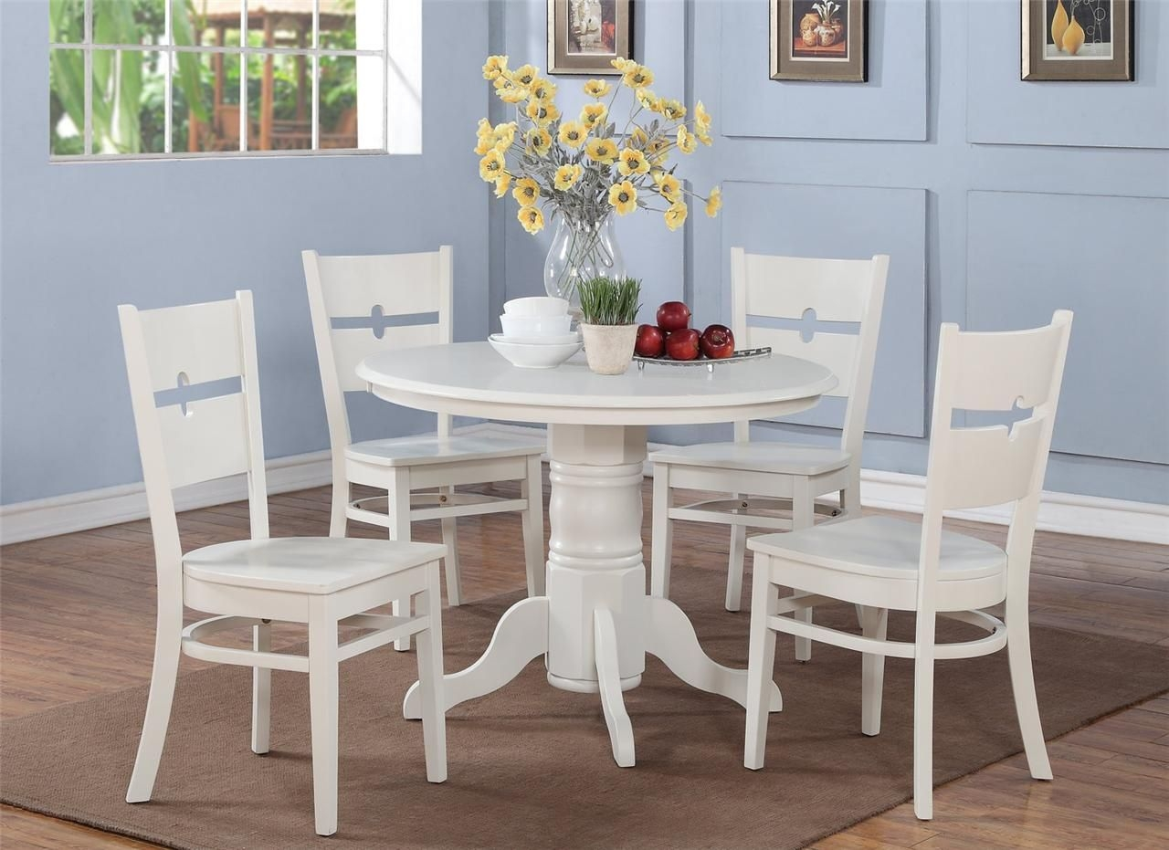 5 Pc Shelton 42 In Round Kitchen Dinette Table  4 Chairs In White  Ebay