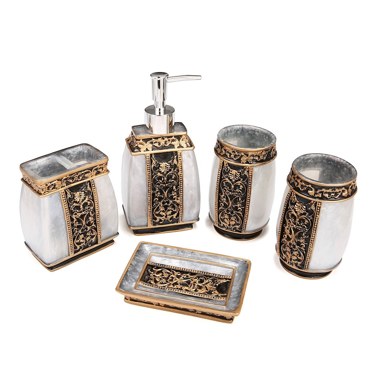 5 Piece Bathroom Accessories Set Bathroom Set Features Soap Dispenser Toothbrush Holder