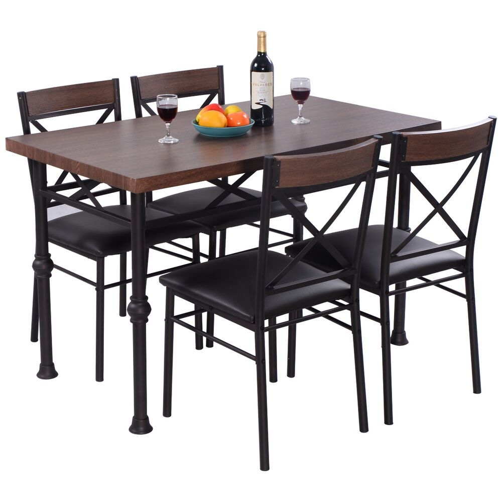 5 Piece Dining Set Table And 4 Chairs Wood Metal Kitchen Breakfast Furniture New  Ebay