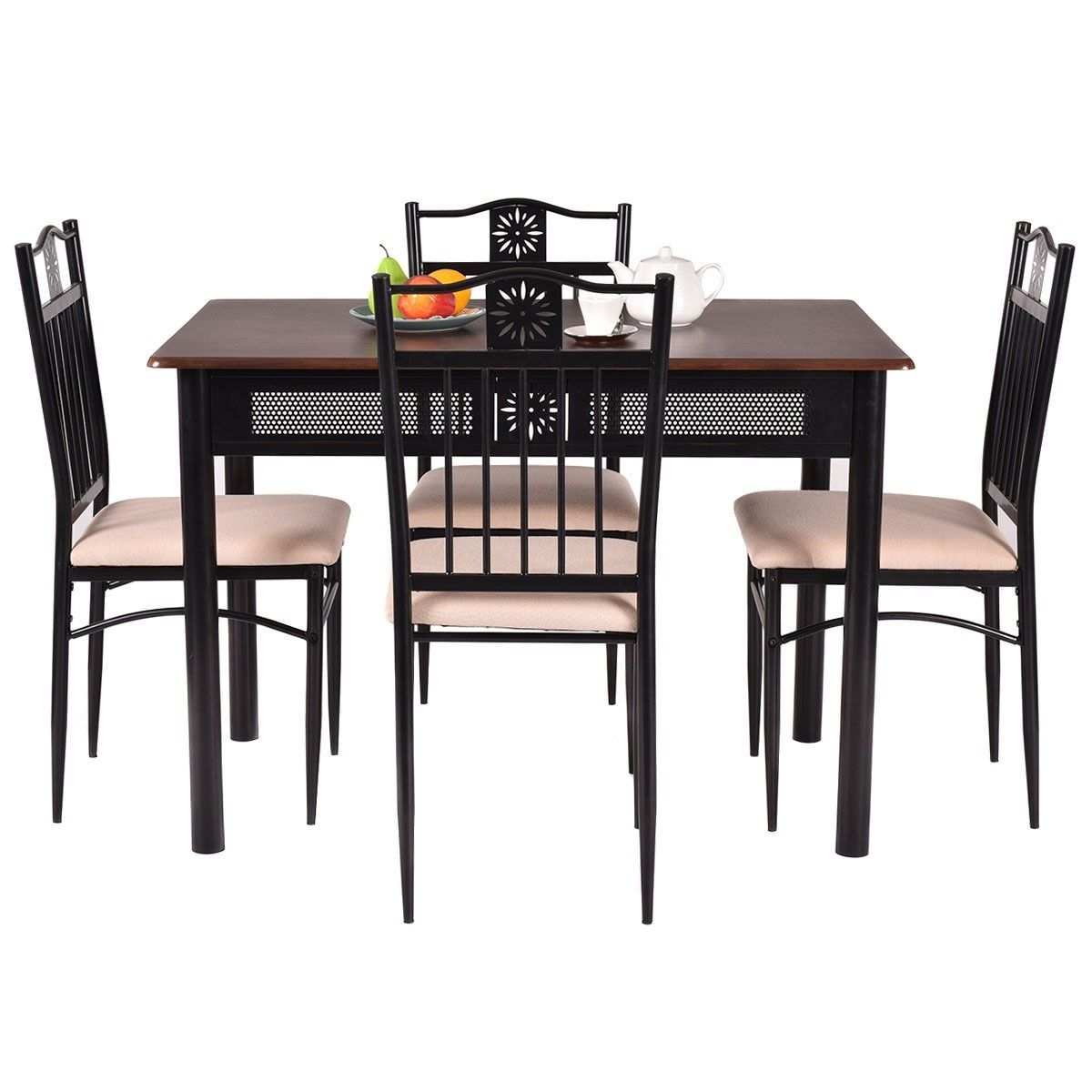 5 Piece Dining Set Wood Metal Table And 4 Chairs Kitchen Breakfast Furniture New  Ebay