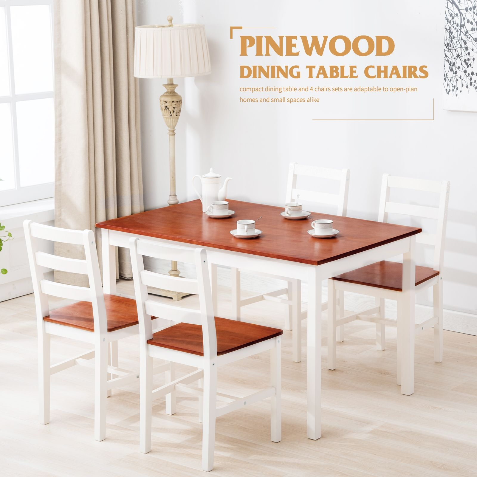 5 Piece Pine Wood Dining Table And Chairs Dining Table Set Kitchen Dining Room 733430877606  Ebay