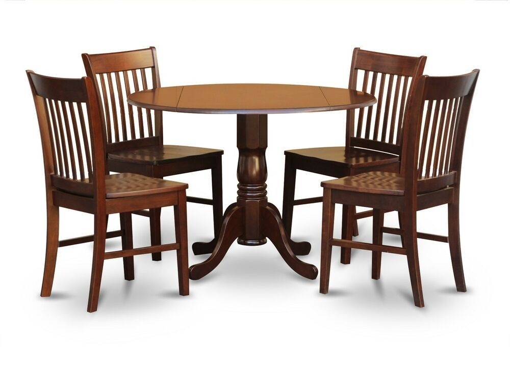 5Pc Dinette Kitchen Dining Set Round Table With 4 Wood Seat Chairs In Mahogany  Ebay