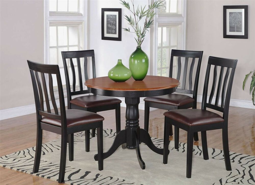 5Pc Dinette Kitchen Dining Set Table With 4 Leather Chairs In Black  Cherry  Ebay