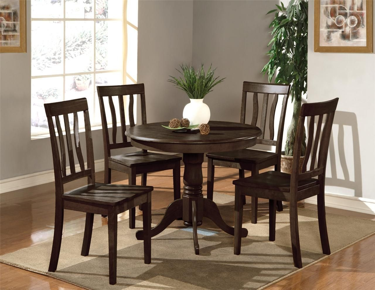 "5Pc Dinette Kitchen Set 36"" Round Table With 4 Wood Seat Chairs In Cappuccino  Ebay"