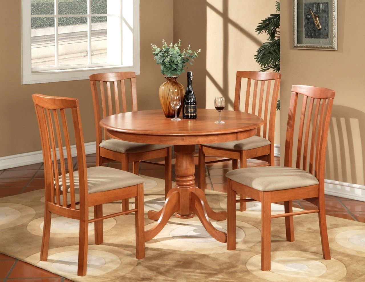 5Pc Hartland Round Dinette Kitchen Table Set With 4 Cushion Chairs Cherry  Ebay