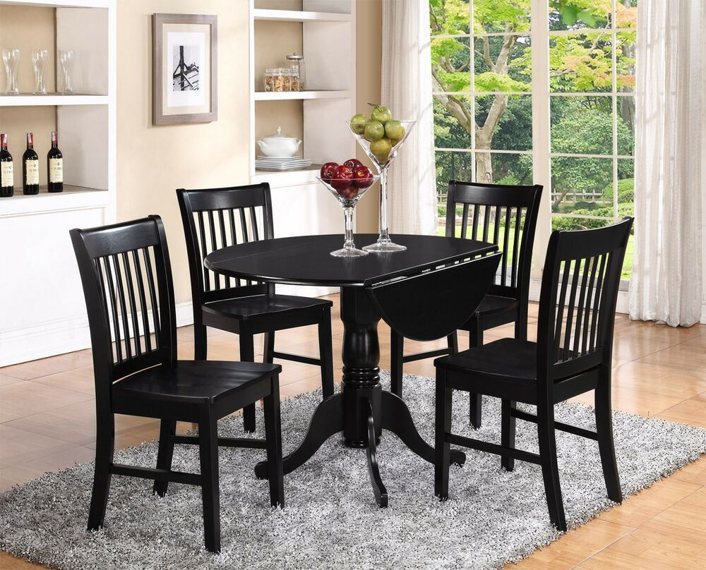 5Pc Set Round Dinette Kitchen Dining Table With 4 Wood Seat Chairs In Black  Ebay