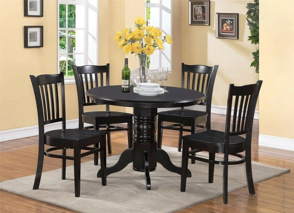 5Pc Shelton Round Dinette Kitchen Table With 4 Wood Seat Chairs In Black Finish 691199853067  Ebay