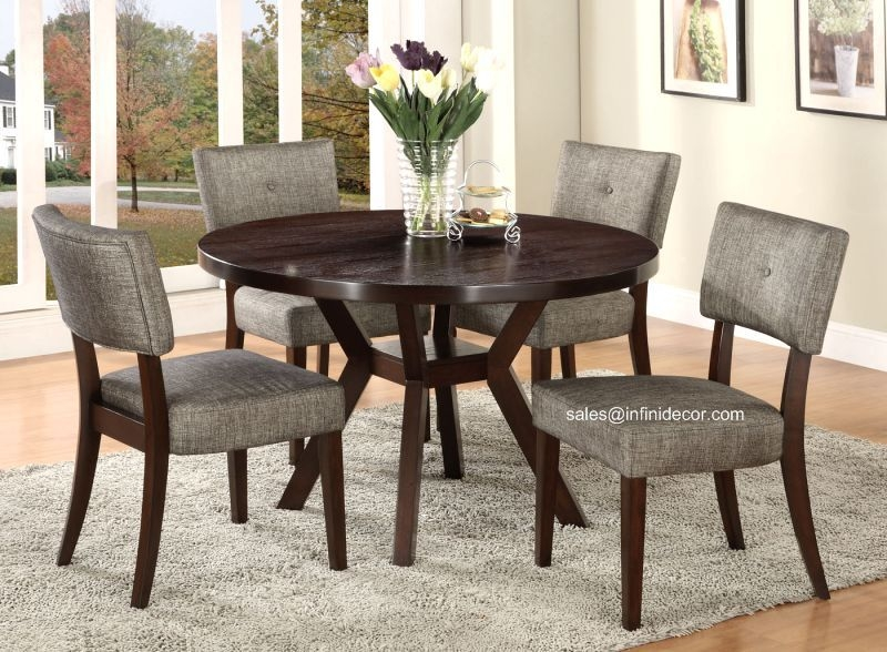 5Pcs Modern Espresso Round Dining Table And Chair Set Am16250 Kitchen  Ebay