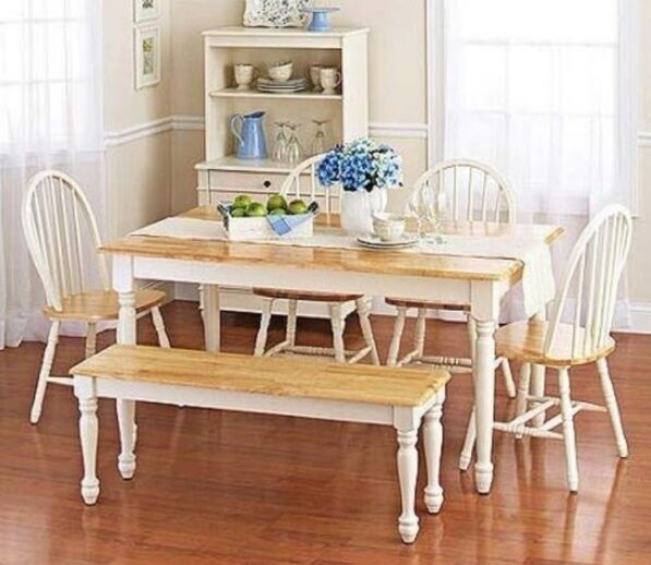 6 Pc White Dining Set Dinette Sets Bench Chair Table Kitchen Room Chairs Oak  Ebay