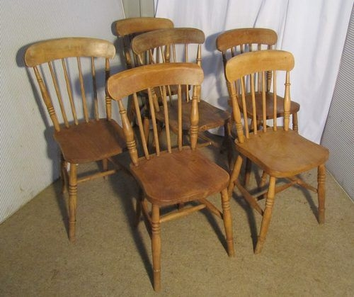 6 Victorian Beech  Elm Stick Back Kitchen Chairs  Antiques Atlas