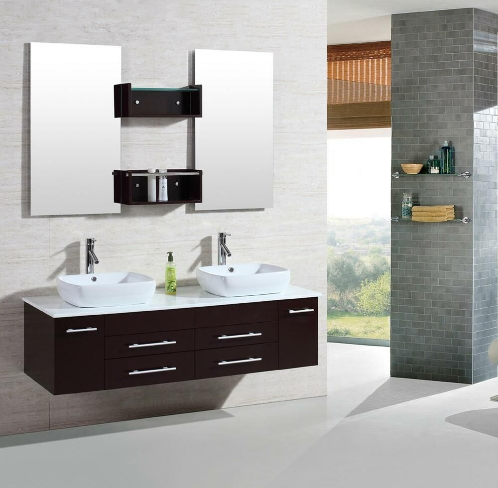 "60"" Modern Bathroom Double Vanities Cabinet Floating Vessel Sink W Marble Top 22  Ebay"