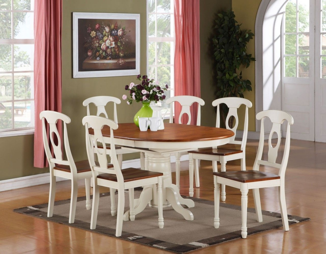 7 Pc Kenley Oval Dinette Dining Room Set Table With 6 Chairs In Buttermilk Brown  Ebay