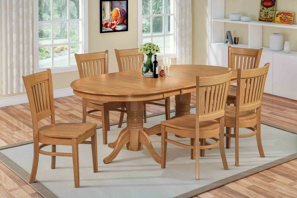 "7 Pc Oval Dinette Kitchen Dining Room Set 42""X78"" Table And 6 Wood Seat Chairs  Ebay"