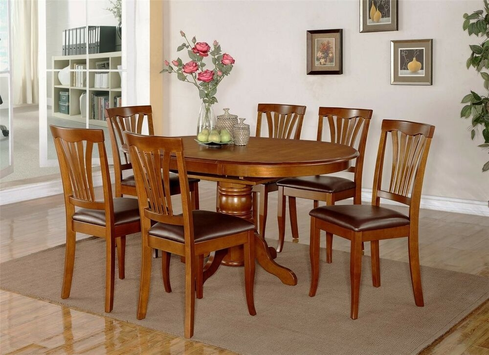 7Pc Avon Oval Kitchen Dining Table W 6 Leather Seat Chairs In Saddle Brown  Ebay