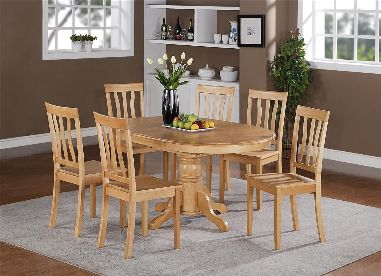 7Pc Berlin Oval Kitchen Dinette Dining Set Table With 6 Wood Seat Chairs In Oak  Ebay