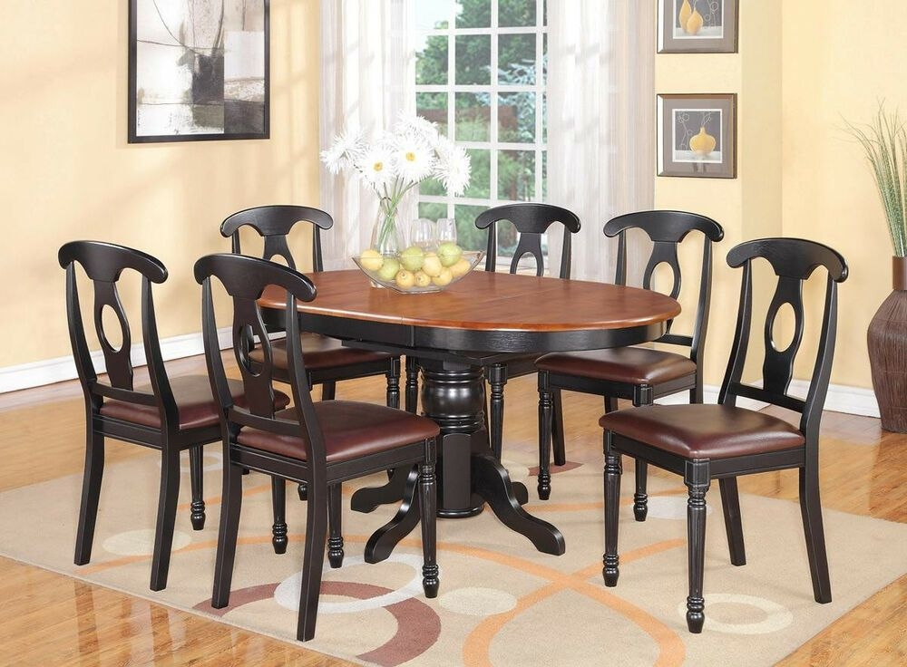 7Pc Kenley Oval Kitchen Dining Set Table  6 Leather Seat Chairs Black Cherry  Ebay