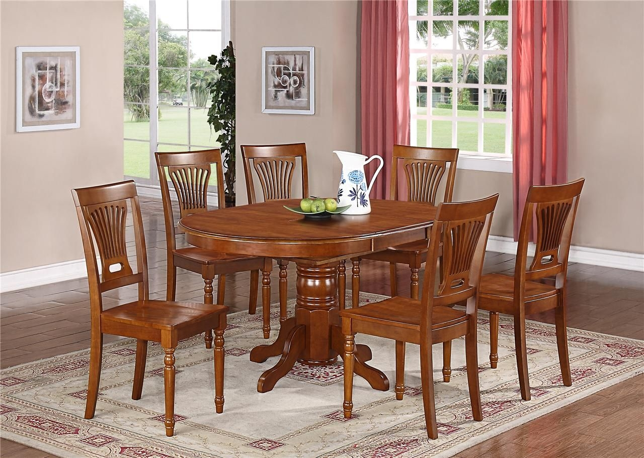 7Pc Oval Dinette Kitchen Dining Set Table W 6 Wood Seat Chairs In Saddle Brown