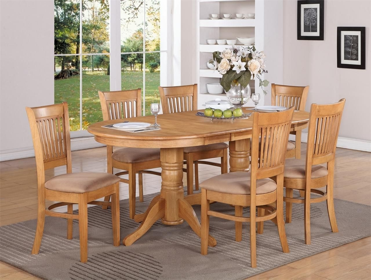 9Pc Vancouver Oval Dinette Kitchen Dining Set Table W8 Upholster Chairs In Oak  Ebay