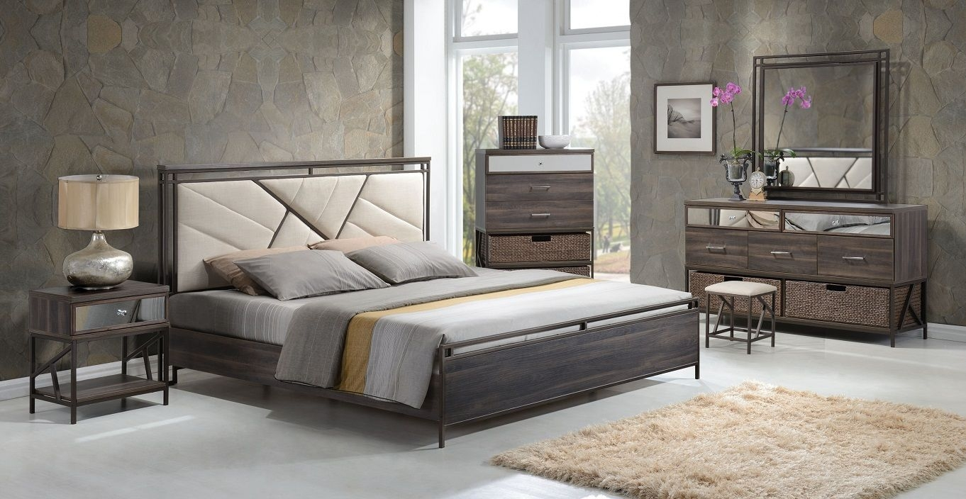 Adrianna 20950 Walnut Finish Cream Fabric Bedroom Set Contemporary Basket Drawer Bed Set