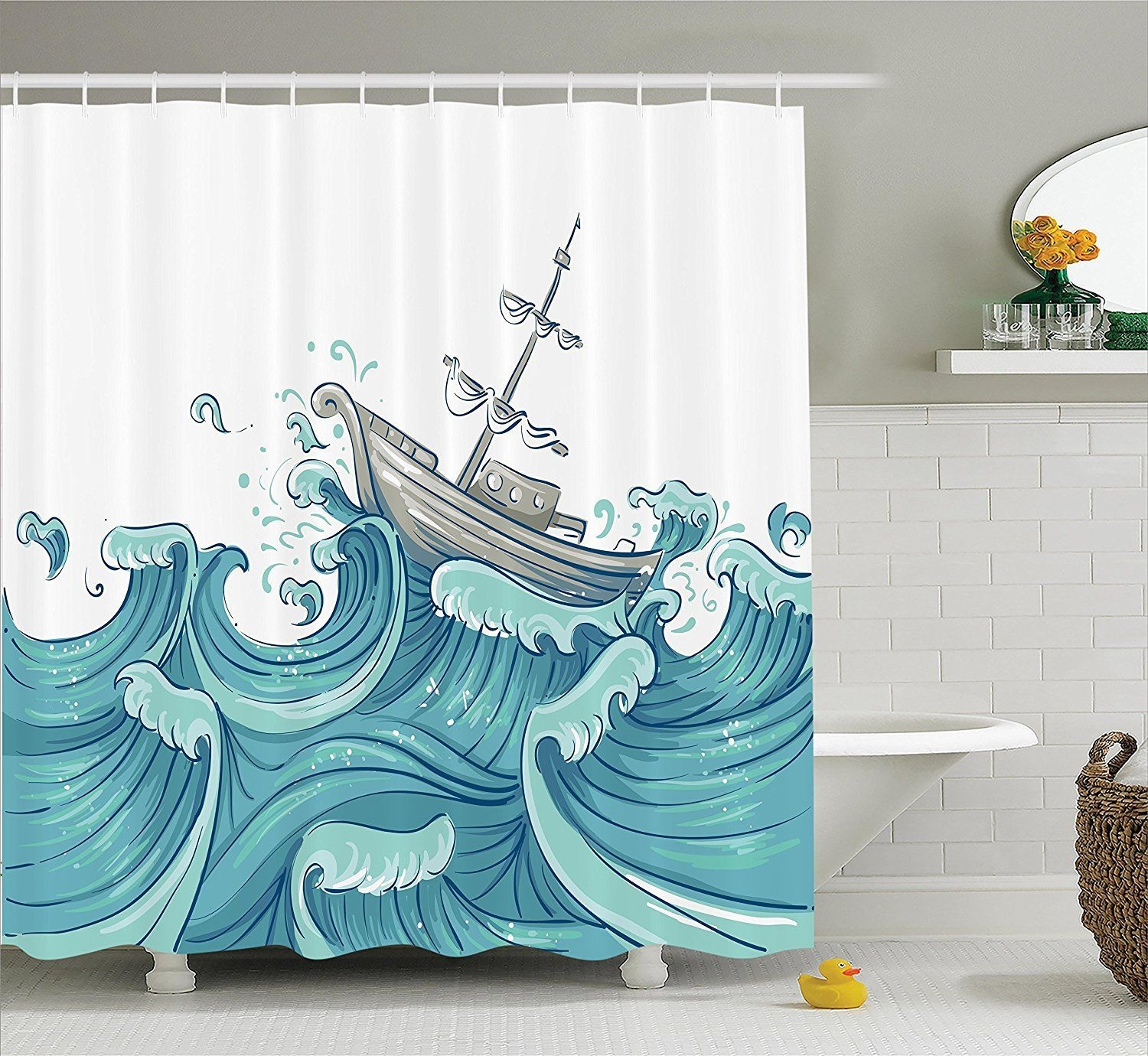Amazon Nautical Decor Shower Curtain Setambesonne Illustration Of A Ship Being Tossed