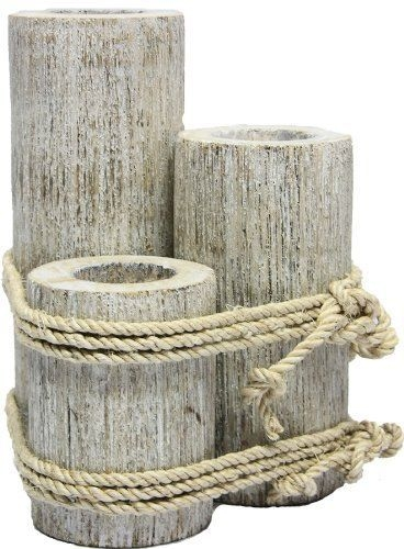 Amazon  Wood 3 Pier Post Tealight Holder Candle Nautical Tropical Home Decor Art Bed Bath