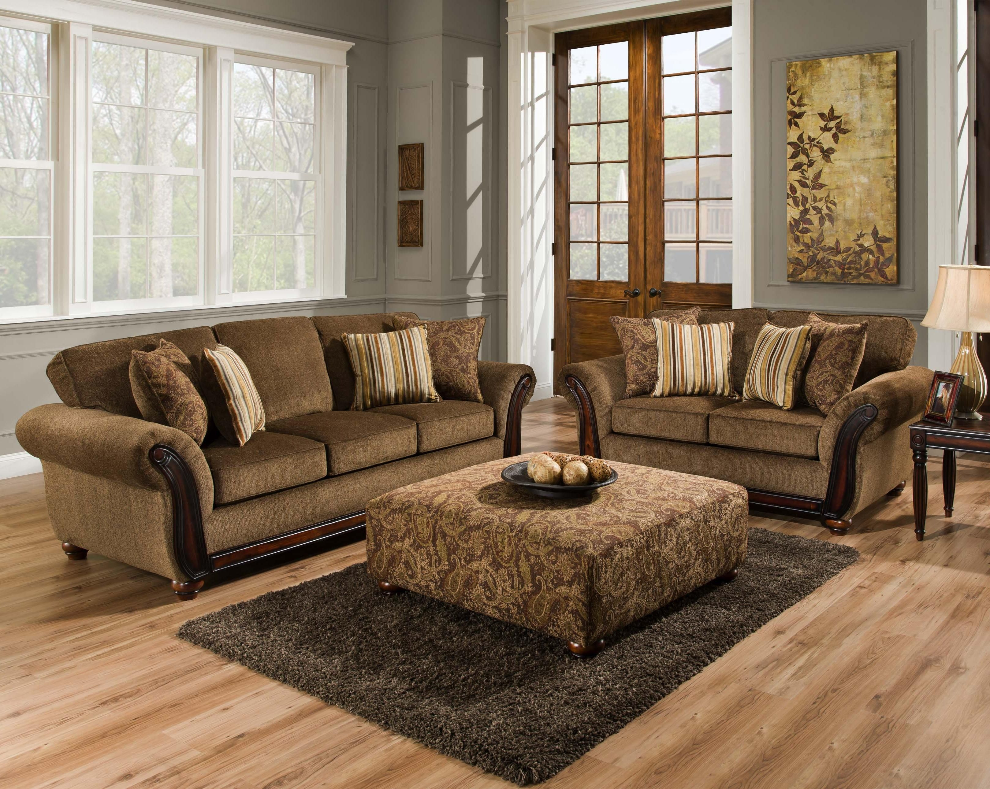 American Furniture 5650 Sofa With Wood Face On Arms  Miskelly Furniture  Sofas