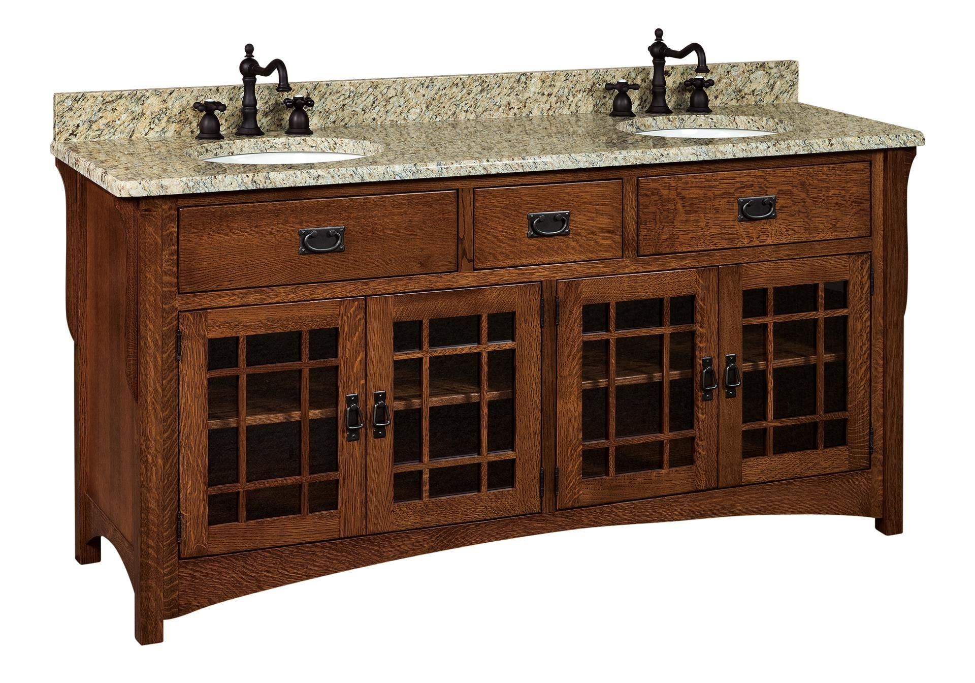 "Amish 72"" Lancaster Mission Bathroom Double Vanity Cabinet"