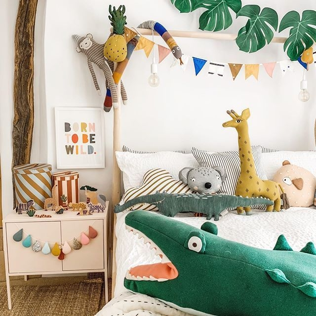 Animal Safari Children's Decor On Ikea Bed Frame With Monstera Leaf Garland  Crafted From