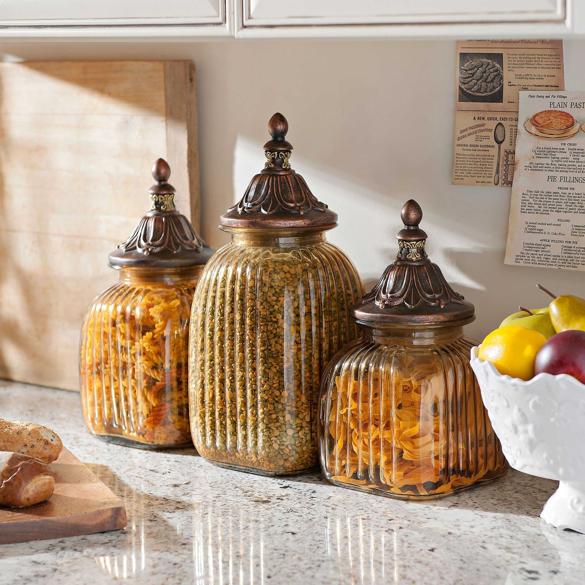 Antiqued Amber Canister Set Of 3 In 2020  Kitchen Canisters Kitchen Canister Sets Kirkland