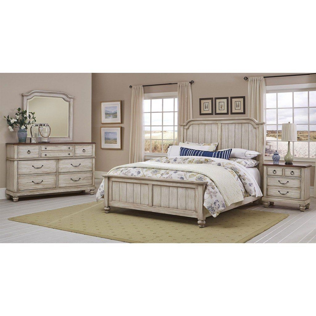 Arrendelle Panel Bedroom Set Rustic White Vaughan Bassett  Furniture Cart