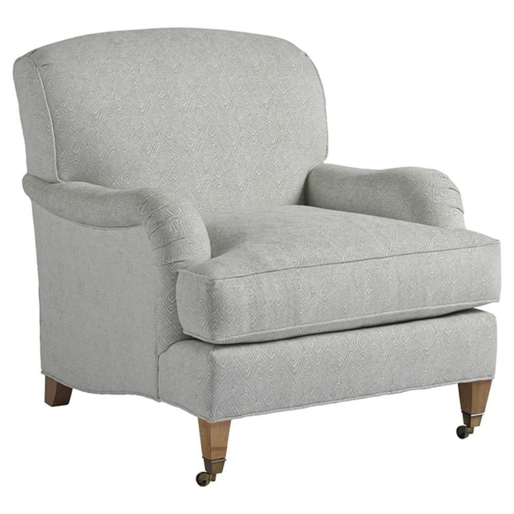 Barclay Butera Sydney Modern Brass Casters Grey Upholstered Living Room Chair