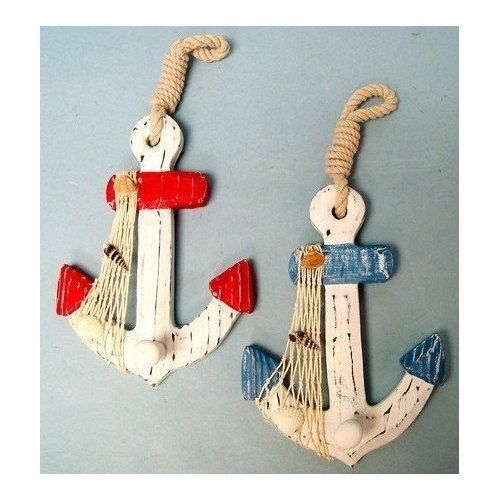 Bathroom Decor  Amazon Set Of 2 Wood Anchor Wall Hooks  Nautical Decor  New Home