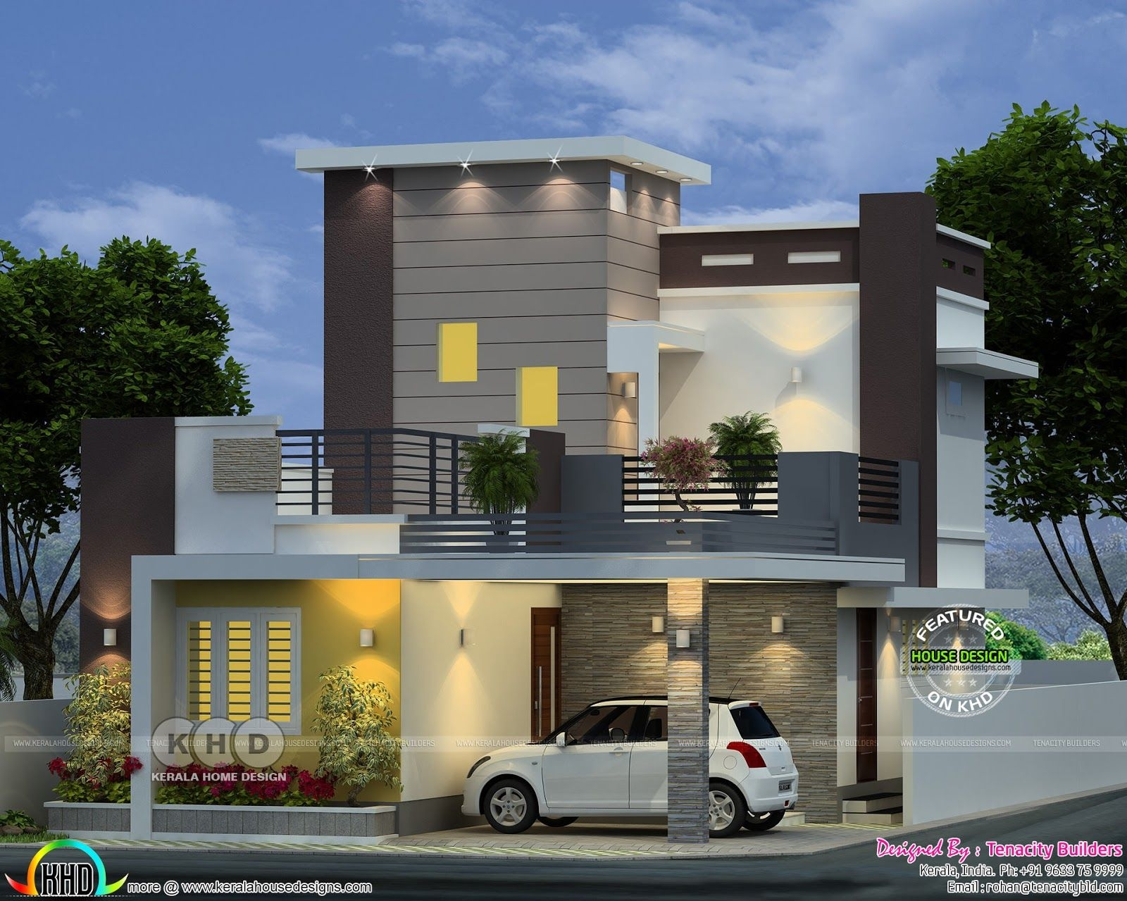 Beautiful Small Double Storied House In 1380 Sqft  Kerala Home Design And Floor Plans