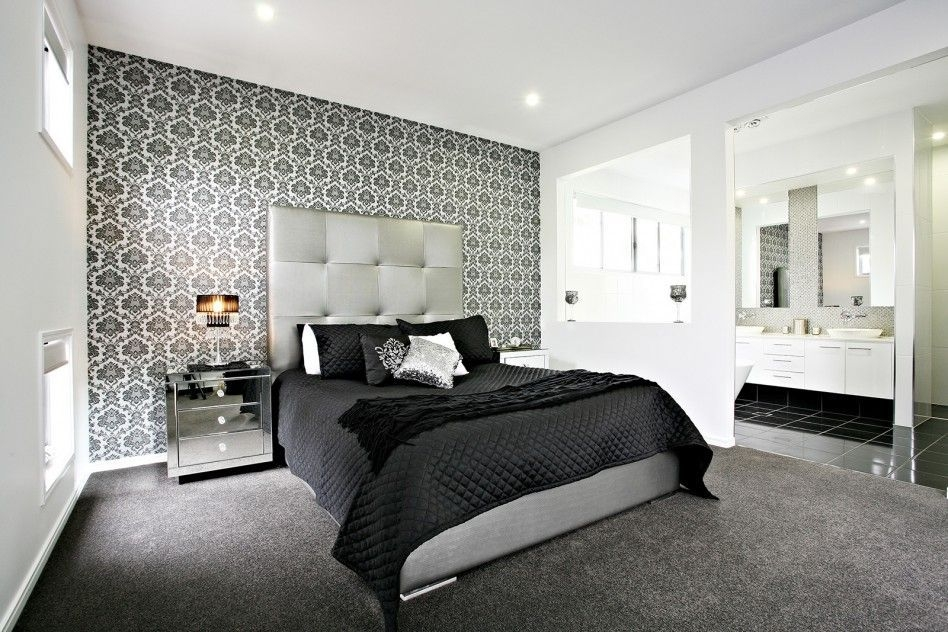 Bedroom Wonderful Black And White Bedroom Decoration With Geometric Feature Wa…  Bedroom