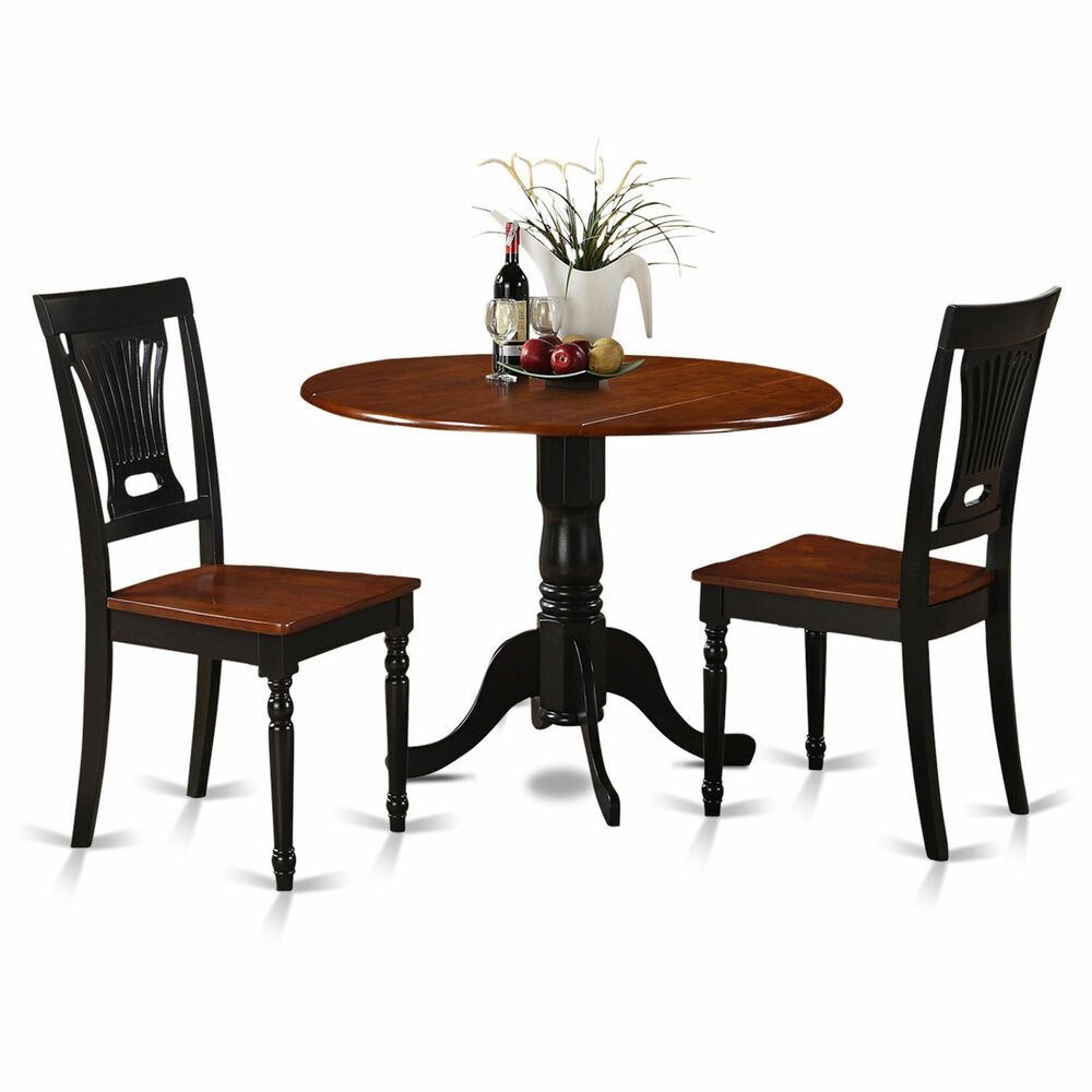 Black And Cherry Round Table And Two Dinette Chair 3Piece Dining Set Furniture  Ebay