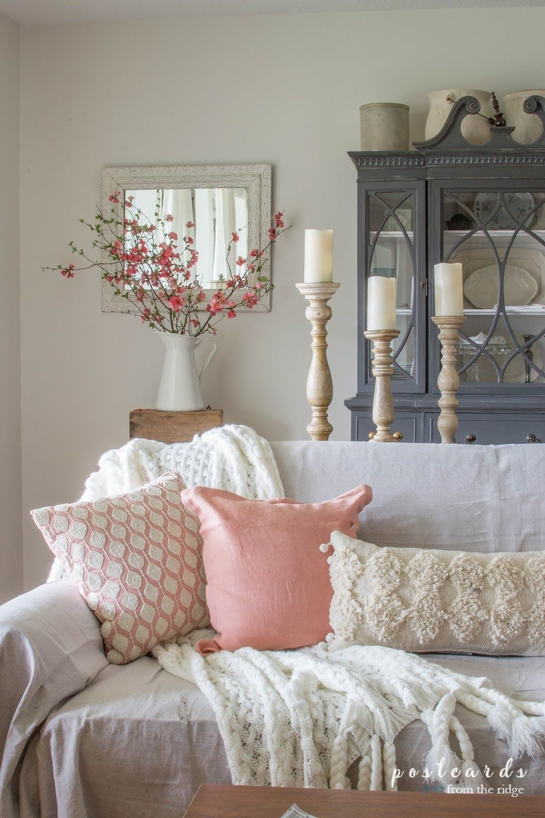 Blush And Bashful  Spring Accents In The Living Room  Spring Home Decor Romantic Home Decor